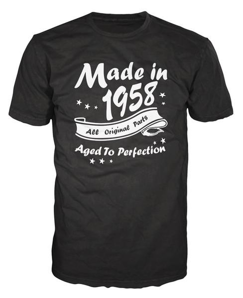 Acquista Fatto Nel 1958 Tutte Le Parti Originali T Shirt Divertenti Il Compleanno Di Anniversario T Shirt Magliette Personalizzate Uomo T Shirt