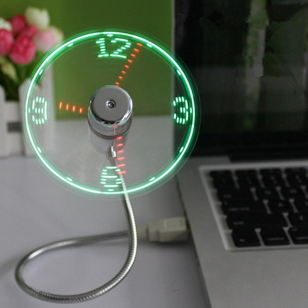 top popular New Durable Adjustable USB Gadget Mini Flexible LED Light USB Fan Time Clock Desktop Clock Cool Gadget Real Time Display High Quality DHL 2021