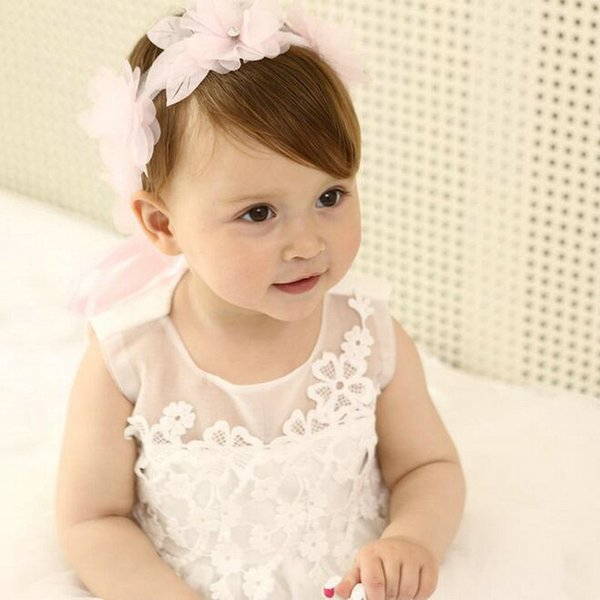 27be5e91c85 Lovely Korea Girls Ribbon Lace Flowers Headbands Cute Toddlers Pink Hair  bands Flower Photography Props Headwear