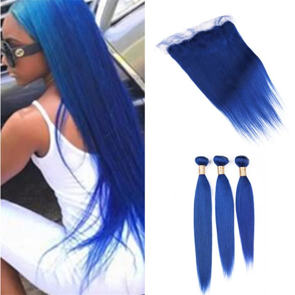 2018 Virgin Peruvian Blue Human Hair Weave Silky Straight 3 Bundles