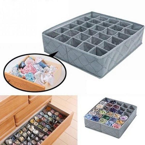 Underwear Classified Storage Boxes Organizer Foldable Non-woven Sock Bra Drawer Christmas Gift Box Many Grids Multi Color