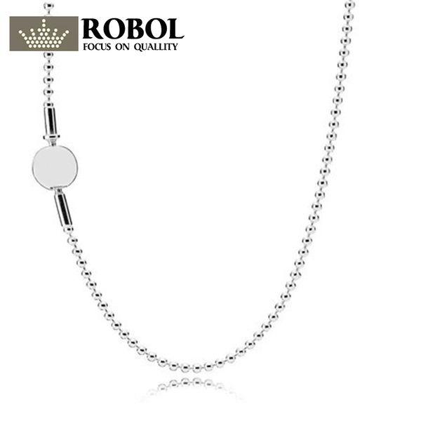 fa2bda3dc38b ROBOL925 plata esterlina clásico collar básico de moda para DIY joyería de  las mujeres colgante collar