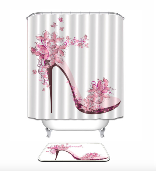 Pink high heeled shoes 3D pattern Print Custom Waterproof Bathroom Modern Shower Curtain Polyester Fabric Bathroom Curtain Door mat sets