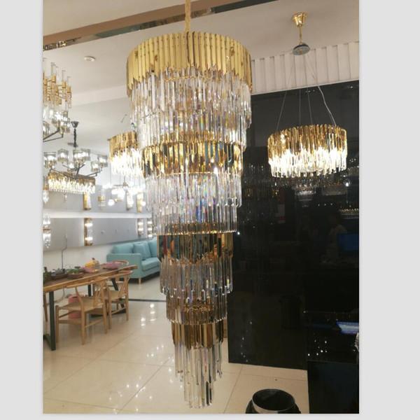 Luxueux lustre en cristal doré en acier inoxydable k9 hall de cristal s'allume en escalier en colimaçon lustres décoratifs à LED