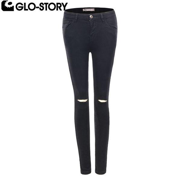 GLO-STORY Mulher De Cintura Alta Preto Jeans Rasgado Femme Broeken Mulher Na Altura Do Joelho Corte Preto Rasgado Jeans Senhoras WNK-5139