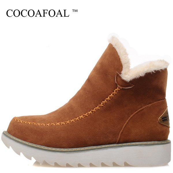 2019 COCOAFOAL Women's Platform Snow Boots Winter Shoes Beige Brown Bla Black Snow Boots Plus Size 33 43 Winter Ankle Boots 2018