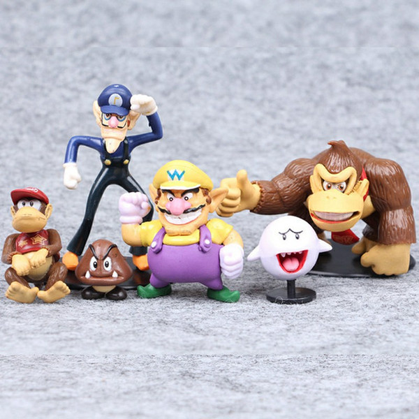 Super Mario Bros 6pcs PVC Video Game Cartoon Action Figures Kids Collectable Model Christmas Gift Toys for Children