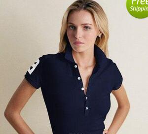 Marca N M-XXL Mujer Polos Camisa Big Horse camisa de cocodrilo Sólido de Manga Corta Verano Casual Camisas Polo para mujer Envío Gratis de buena calidad
