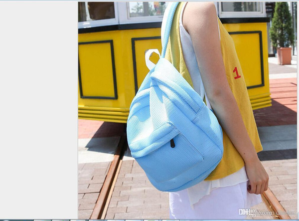 Venta al por mayor- Mujeres de moda Mochila transparente Bolso de viaje de mochila de viaje de malla ligera para mujer Mochila ligera