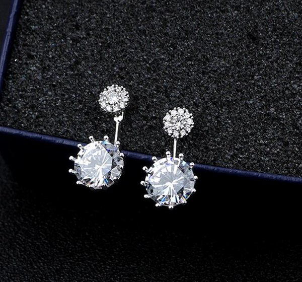 Trendy white Gold Plated Front Back Round CZ Crystal Stud Earrings Jacket Cuff Earrings Set Statement Jewelry