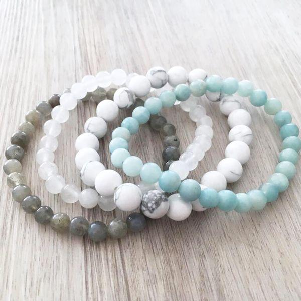 Howlite Blanc J-ade Labradorite Amazonite Bracelet Ensemble de perles en pierre naturelle Bracelets Empilables Ensemble de 4 Bracelet Pour Hommes
