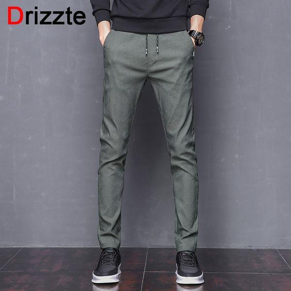 f4750d208a45 Drizzte Mens Stretch Pants Korean Casual Slacks Slim Dress Pants for men  Black Navy Green