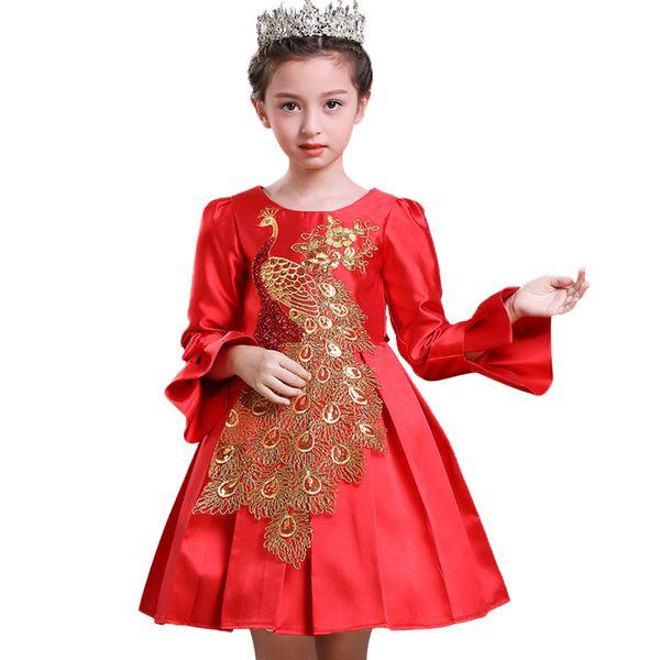 Vestidos de fiesta para niñas de flores Vestido de año nuevo para niña Concurso Bordado Formal Dama de honor Boda Chica encaje Princesa de Navidad Vestido de bola para niños