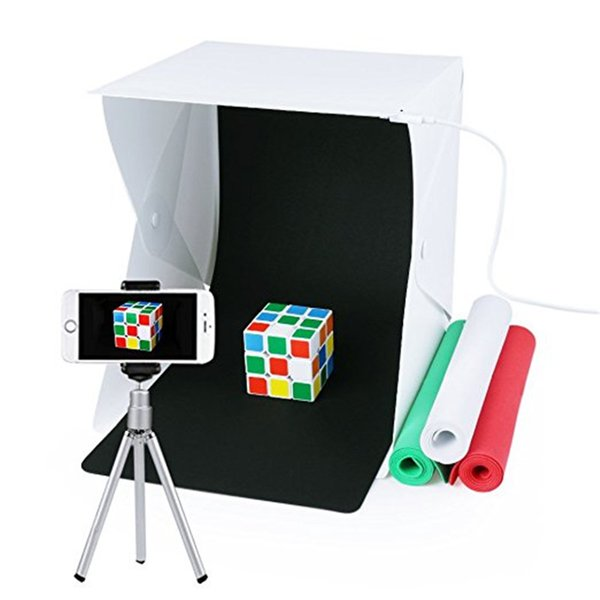 Portable Photo Studio,URiver Mini Folding Table Top LED Light Box and Photography Lighting Tent with 4 Backdrops Kit