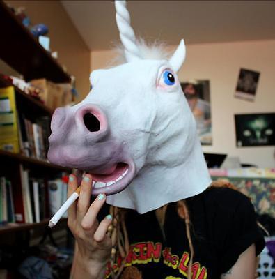 Fiesta de Halloween Fiesta de Disfraces Esenciales Teatro Cosplay Prop Novedad Látex de caucho Máscara espeluznante Cabeza de caballo Unicornio Máscara de rostro completo