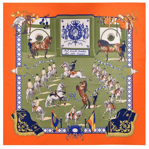 Big Size Orange Women Ethnic Square Silk Scarf Handmade Luxury Design Paris Foulard Femme Shawls Vintage Horse Print Twill Scarves Wholesale