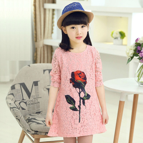 High Quality Baby Girls Lace A-line Dresses Casual Princess Girl's Dresses Kids Summer Clothes Dress for Girl Korea Style