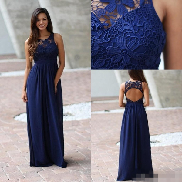 2019 Country Royal Blue Bridesmaid Dresses Sheer Crew Lace Sleeveless Backless Long Full Length Bridesmaid Gown for Weddings
