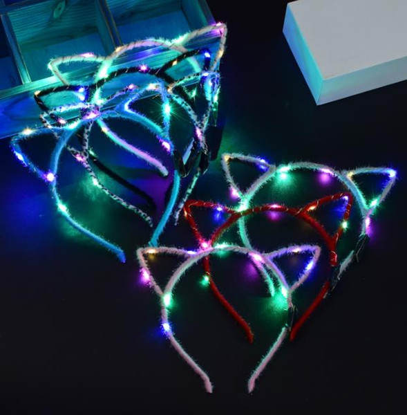 top popular LED Light Up Cat Ear Headband Party Glowing Supplies Women Girl Flashing Hair band football fan concet fans cheer props gifts 2021