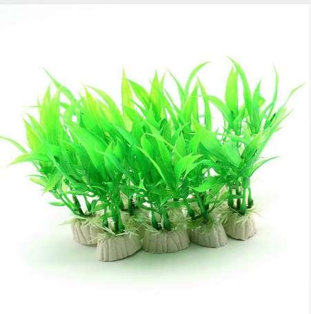 2 Pcs Simulated Green Bamboo Leaves Fake Plant Grass Artificial Aquarium Landscaping Fishes Tank Home Decoration Accessories