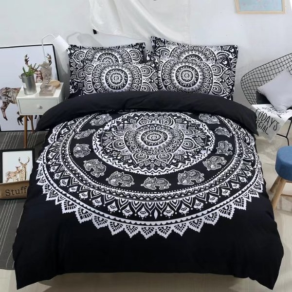 black and white bed linens 3d mandala flower printed duvet cover bohemian elephant bedding set 3pc single queen full king size