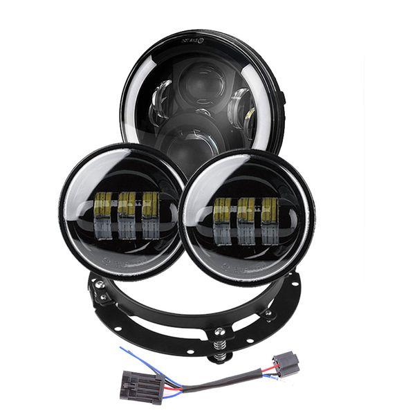 "7inch LED Headlight+4.5"" Fog Lights Passing Lamps+Headlamp Bracket Mounting Ring For Harley Road King Street Glide"