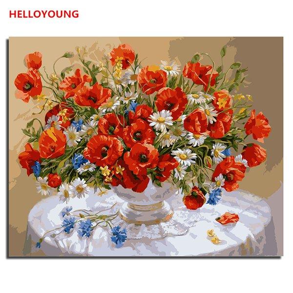 HALLOYOUNG Digital Painting Handgemaltes Ölgemälde Warm wie Feuer von Zahlen Ölgemälde chinesische Roll Gemälde Home Decor