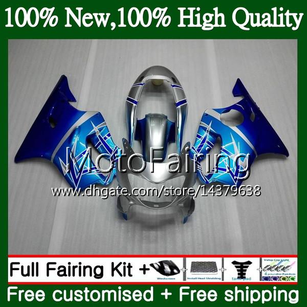 Cuerpo para HONDA CBR600F4 CBR600 F4 99 00 Azul plateado FS 44MF6 CBR 600F4 99 CBR600 FS CBR600FS CBR 600 F4 1999 2000 Carenado Kit de carrocería