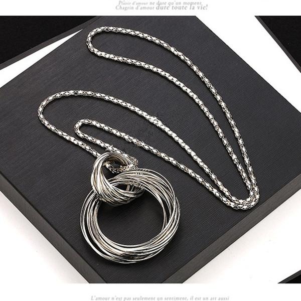 Hot new fashion Longo camisola cadeia colar feminino moda camisola grande círculo acessórios decorativos colhedores de jóias