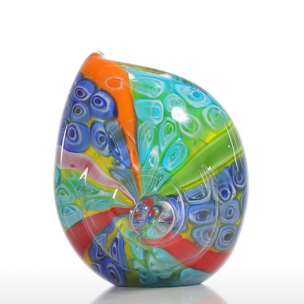 Tooarts Colorful Sea Shell Gift Glass Ornament Animal Figurine Handblown Home Decor Multicolor Decoration Decorative