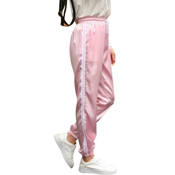 10 Color Sweatpants Women Elastic High Waist Pants 2018 Sportswear Casual Baggy Pink Striped Ladies Trousers Pantalon FemmeY1882202