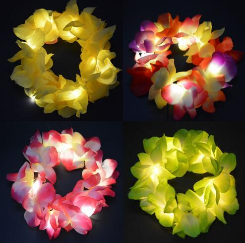 LED Light Up Hula Hawaiian Flashing Flower Garland Headband Head Wear Lei Beach Party Wedding Decoration