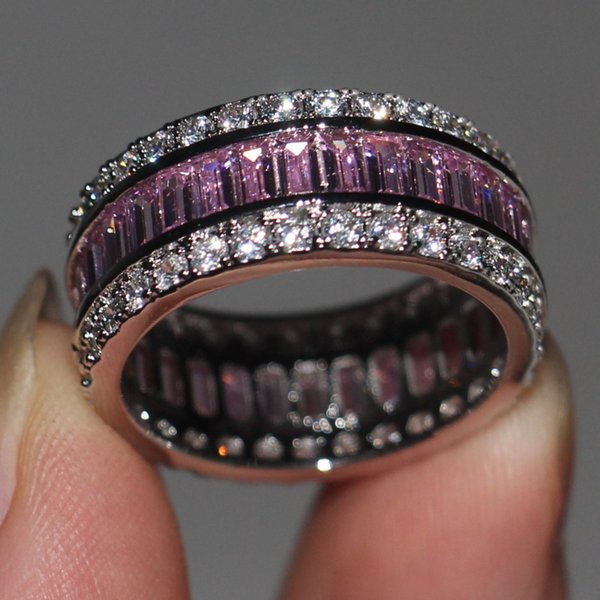 X Fashion Jewelry Women Engagement ring Princess cut 15ct 5A Zircon stone Pink Cz 925 Sterling Silver Female Wedding Band Ring