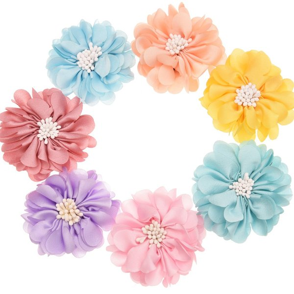 180PCS Satin Flower diy hair accessories Shabby Chiffon Flowers Headwear Photography Party decoration flower No Bows No hairclip