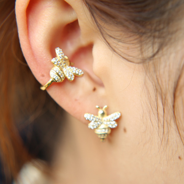 68db2eec7 2 Styles Cute Insect Bee Micro Pave Cubic Zirconia Earrings Gold Color  Women Studs Ear Cuff