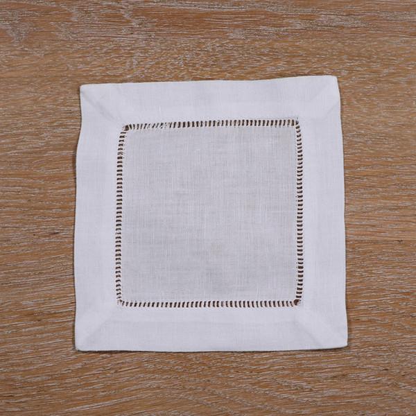 N002-6: Tovaglioli orlo in lino bianco / cotone - 1 Dozzina 6
