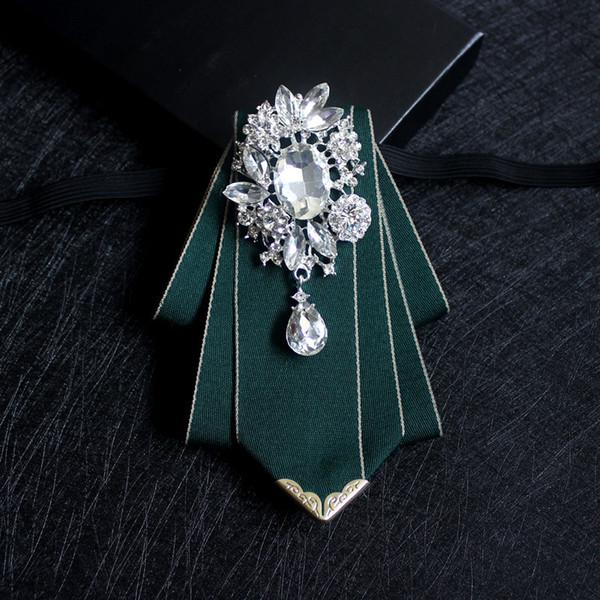 Handmade Boutique Suit Shirt Green Fashion Bow Tie Groom Best Man Dress Banquet Wedding Host Korean Version of The Collar Flower