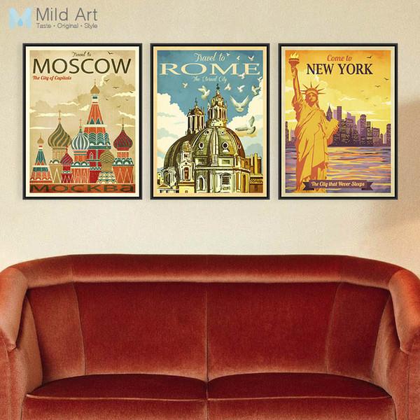 Vintage Retro Triptych New York Roma Moskova Şehir Tuval A4 Büyük Sanat Baskı Posteri Duvar Resimleri Ev Dekorasyonu Boyama Yok Çerçeve