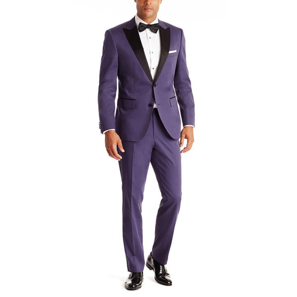 New Arrival Purple Grooms Tuxedos Black Satin Peaked Lapel Wedding Suits For Men Two Piece Mens Suits Two Button Groomsm (Jacket+Pants) G373