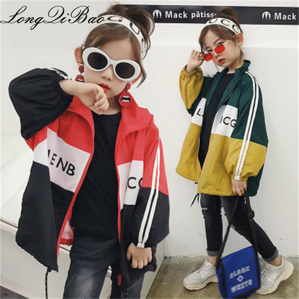 top popular Children's long-sleeved jacket 2018 autumn new color collar collar loose boys and girls color matching windbreaker 2019