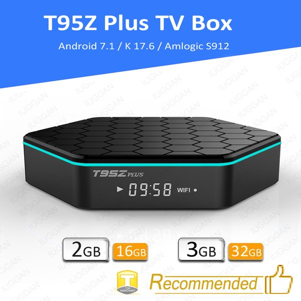top popular T95Z Plus TV Box Android 7.1 Amlogic S912 Octa core TV Box 2GB 16GB player17.6 5G Wifi Bluetooth Gigabit T95 media player 2019