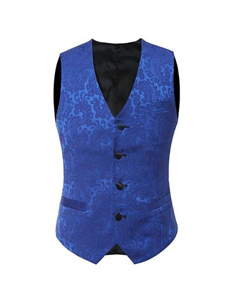2019 Royal Blue Lace Groom Vests British Style Men's Suit Vests Slim Fit Men's Dress Vest Wedding Waistcoat Plus Size Red Black White