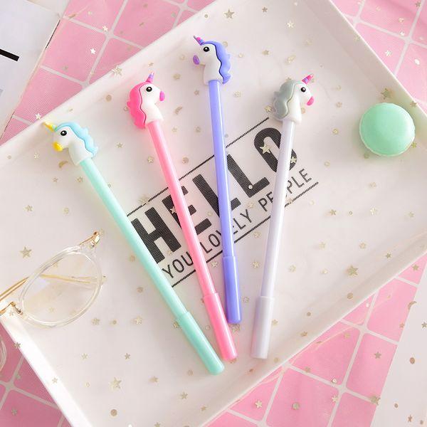 1pcs/sell 0.7mm Kawaii Cute Unicorn Model Black Ballpoint Pens For Office Stationery Writing Office School Supplies