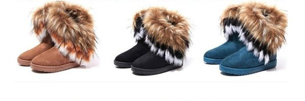 factory hot sell 2018 Fashion Fox Fur Warm Autumn Winter Wedges Snow Women Boots Shoes GenuineI Mitation Lady Short Boots Casual Long Snow