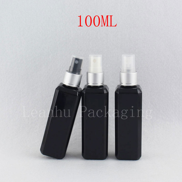 100 ml x 50 bouteilles noires carrées vides de pulvérisateur de pulvérisateur 100CC bouteilles noires de PET cosmétiques contenant de la brume en aluminium d'argent
