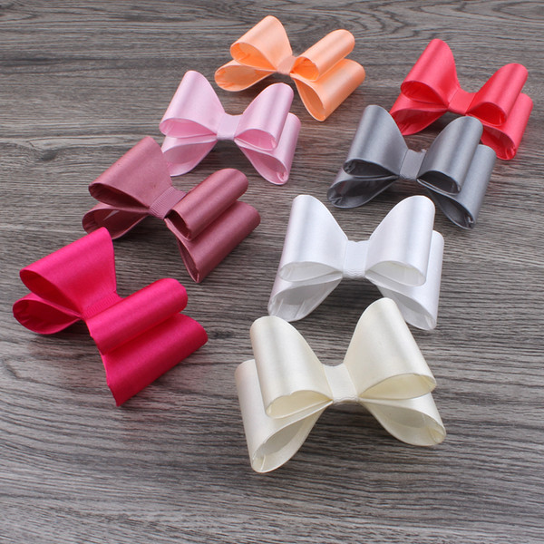 """30pcs/lot 3.2"""" 16colors Newborn Luxe Kids Bows For Headbands/Hair Clips Super Hard PVC Satin Bow For Kids Girls Hair Accessories"""