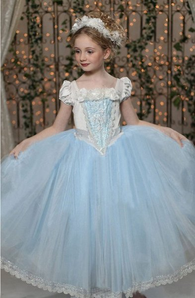 Blue Red Princess Girl Dresses Fancy Fantasy Baby Girl Halloween Cosplay Costumes Cinderella 110-150cm Clothes for Kids