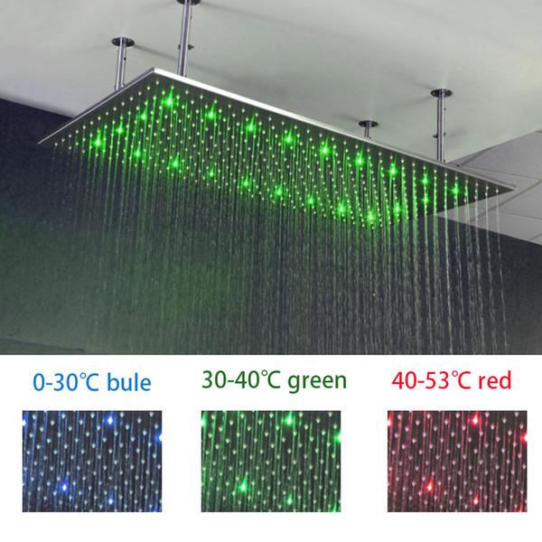 Tavan Monteli 400 * 800mm Kare Çok renkli romantik LED Renk Değiştirme Yağmur Duş Başlığı Dikdörtgen Şelale Duş Başlığı