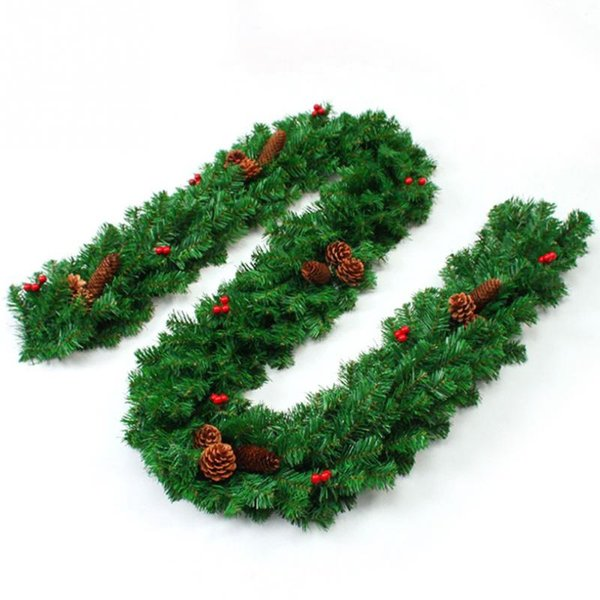 Christmas Pine Garland.2 7m Christmas Pine Garland With Bows Artificial Green Wreaths Christmas Hanging Ornaments For Home Party Xmas Tree Decoration Glass Christmas