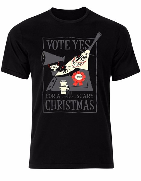 T Shirt Anime Vote Yes For A Scary Christmas Nightmare Before Christmas Mens Tshirt Top Al63 Plus Size Casual Clothing